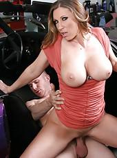 Fascinating whore Devon Lee using big tits to seduce and fuck bad boys