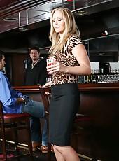 Demonic milf Julia Ann taking off skirt and making a real deepthroat
