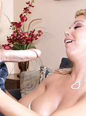 Cute and naughty Amber Lynn Bach doing bad things to get a cumshot