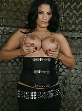 Delightful milf Sophia Lomeli teasing big tits and taking off clothes