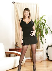 Classy whore Ava Devine showing shaved sissy and working with big tits