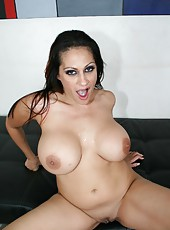 Big titted lady Ava Lauren is ridding her mans hard cock on camera