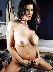 Passionate brunette mommy Shay Sights spreads her legs and masturbates