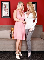 Blonde lesbian angels Devon Lee and Taylor Wane show their bodies