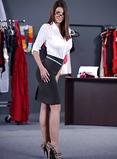 Pretty teacher Brooklyn Chase demonstrates her big tits and sweet hole