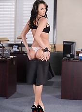 Awesome brunette secretary Alektra Blue shows her gentle pussy