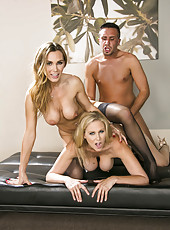 Hot threesome with beautiful blonde chicks named Julia Ann and Tanya Tate