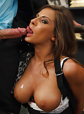 Nasty brunette milf Madison Ivy gets a hot fuck in the trimmed pussy