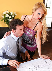 Horny blonde slut Taylor Wane seduces her friend and gets his cock