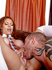 Nasty milf Monique Fuentes gets a hot dick in the shaved pussy