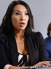 Amazing Asian babe Asa Akira takes all his jizz on her gentle tongue