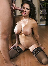 Black haired appetizing mature brunette Teri Weigel fucks and sucks a big cock