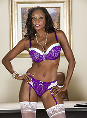 Sexy Ebony mature Diamond Jackson in hot white stockings and black high heels