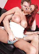 Tempting mature redhead Rhyse Richards meets hot boyfriend and seduces him