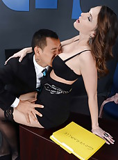 Hot secretary Jennifer Dark present her chief