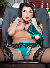 Incredible brunette milf with amazing tattooed backside and big tits Romi Rain