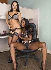 Asian hottie Asa Akira and Ebony milf Diamond Jackson in the interracial lesbian scene