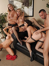 Christmas group sex in the office with Chanel Preston, Krissy Lynn, Nicole Aniston and Tanya Tate