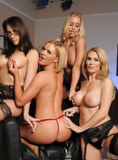 Four amazing milfs Chanel Preston, Krissy Lynn, Nicole Aniston and Tanya Tate playing sweet games
