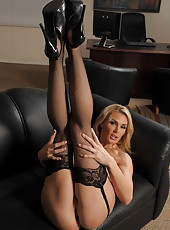 Gorgeous blonde milf Tanya Tate willingly takes off her charming lingerie