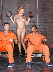 Milf whore Krissy Lynn was invited to be fucked by two prisoners at the same time
