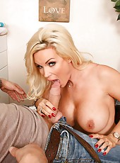 Busty mature Diamond Foxxx is happy to meet big cock and gets it in her mouth and pussy