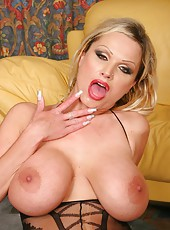 Wild blonde cougar Sharon Pink makes him wild with her crazy hot passion and big tits