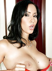 Black haired milf with charming big tits Isis Love fucks in the living room