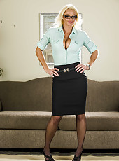 Office lady in sexy glasses Rhylee Richards shows off the most delicious parts of her body