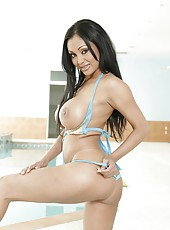 First-class Asian brunette Priya Anjali Rai poses naked near the pool