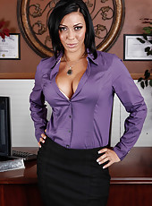 Brunette milf with sexy tanlines and big round tits Rachel Starr gets naked on the camera