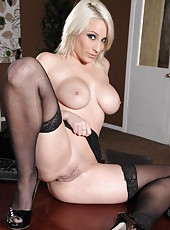 Exceptional blonde milf with beautiful big tits Lexi Swallow raises her skirt