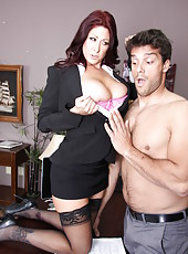 Mature office lady with huge boobs Tiffany Mynx gets her asshole stretched by a big cock