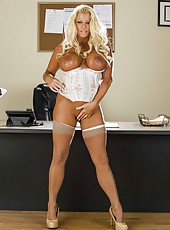Mature blonde with sexy tanned skin and big tits JR Carrington strips in her cabinet