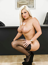 Super curvy blonde milf Dayna Vendetta surprises us with her round melons