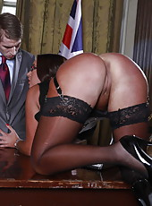 Busty milf Emma Butt seduces young politician with her unforgettable curvy forms