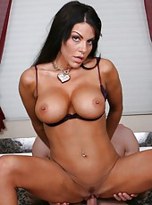 Marvellous brunette babe with amazing body Victoria Valentino fucked in the bathroom