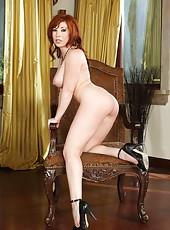 Hot redhead slut Brittany Oconnell spreads her sexy legs and masturbates