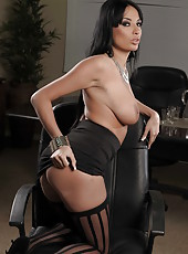 Beautiful brunette girl Anissa Kate shows her huge boobs and masturbates