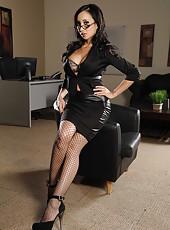 Naughty brunette milf Katsuni shows her Asian pussy and masturbates
