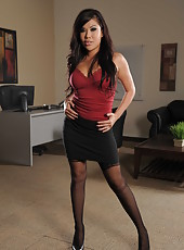 Gorgeous Asian brunette London Keyes undresses her sexy skirt and masturbates