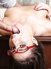 Elegant and gorgeous brunette secretary Paige Turnah sucks a big dick