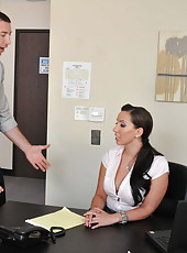 Naughty secretary Kelly Divine spreads her sweet legs and fucks like a crazy slut