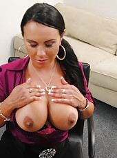 Brunette business woman Mariah Milano invited her secretary with a big cock