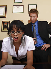 Petite and busty secretary with pretty face and hot ideas Abella Anderson has fun in the office