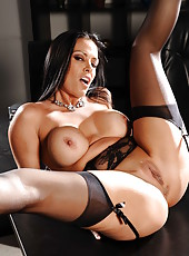 Bewitching Vanilla Deville is a delicious brunette milf with hot big tits and great body