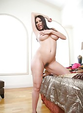 Exceptional brunette milf Sheila Marie, her beautiful huge tits and hairy pussy