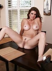 Kitchen striptease by hot milf on sexy high heels Raquel Devine demonstrating her big tits