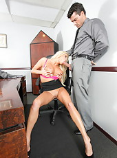 Long legged blonde business lady Nikita Von James also has great big tits and amazing fucking skills