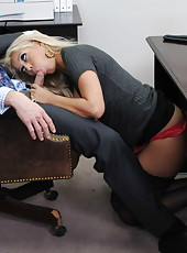 Gorgeous blonde milf Bridgette B got her giant tits covered with cum by a big cock